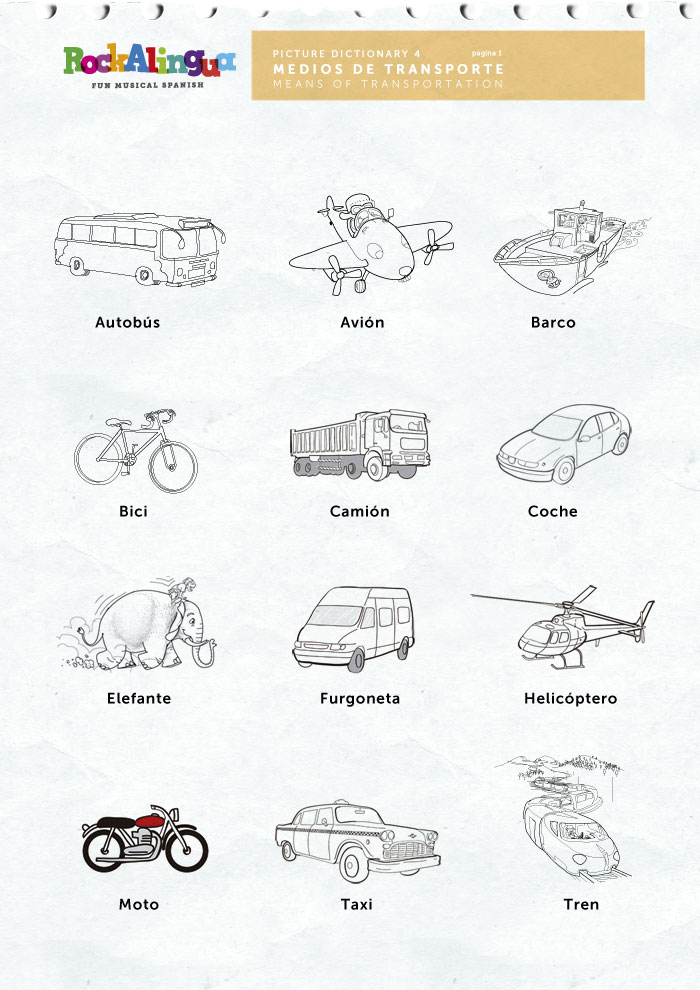 Means of transportation : Picture dictionary : Rockalingua