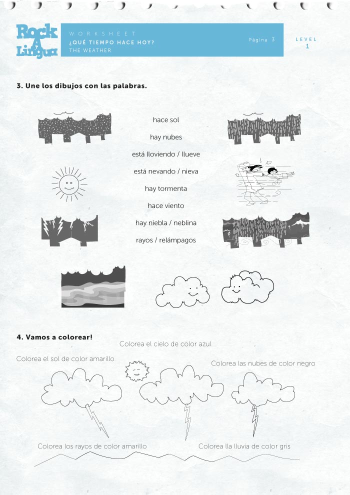 Free Worksheets library worksheets : Song and video about weather to teach Spanish : Rockalingua
