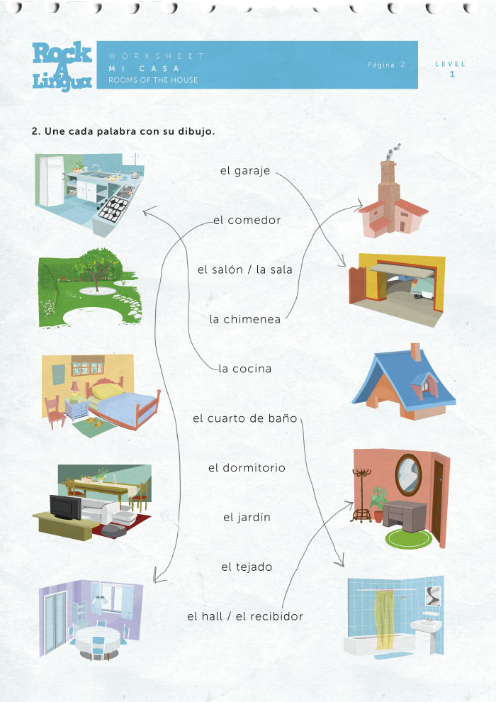 Rooms of the house worksheet rockalingua for Spanish house names suggestions