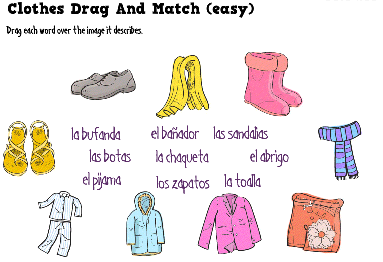 What a fun way to practice clothing in Spanish!