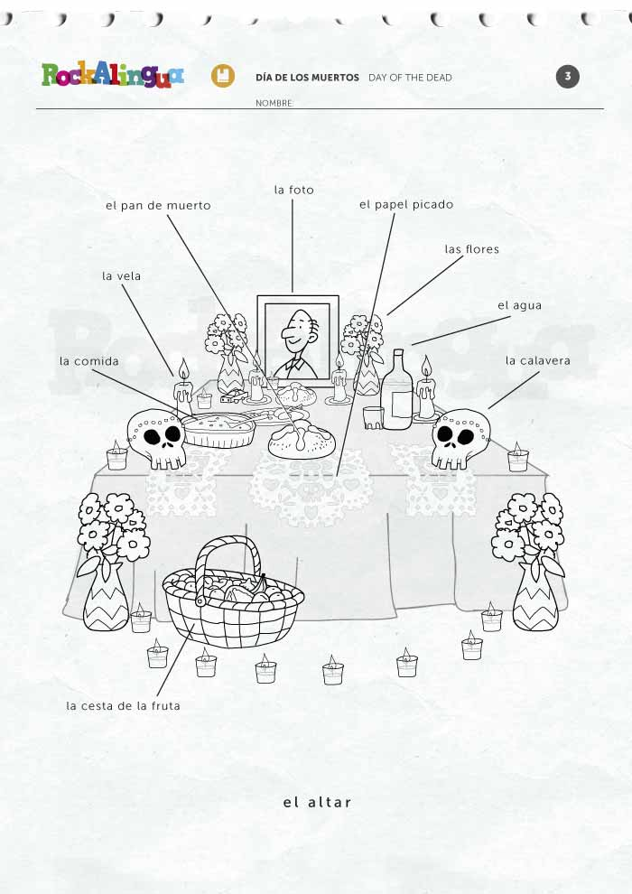 Worksheets Day Of The Dead Worksheets day of the dead picture dictionary rockalingua de los muertos