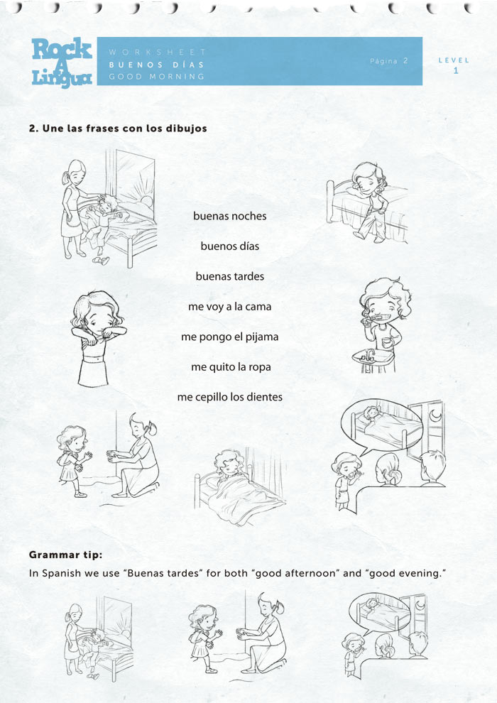 Printables Spanish Greetings Worksheet greetings and daily routines worksheet rockalingua spanish for kids here is a sample of the activities included on this worksheet