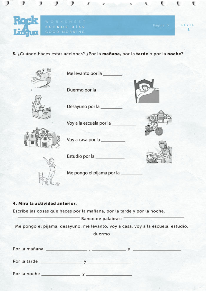Printables Spanish Worksheets Greetings greetings and daily routines worksheet rockalingua spanish for kids here is a sample of the activities included on this worksheet