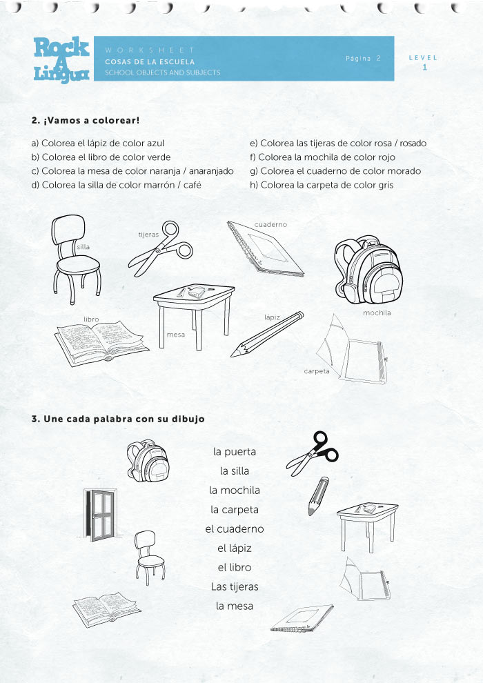 School Supplies And Subjects Worksheet Rockalingua. Check Out These Sles Of Rockalingua' School Objects And Subjects In Spanish Worksheet For Kids Made Fun Easy. Printable. Printable Spanish Worksheets For Kids At Clickcart.co