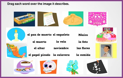 Interactive games for Día de los Muertos give students the opportunity to practice vocabulary independently.