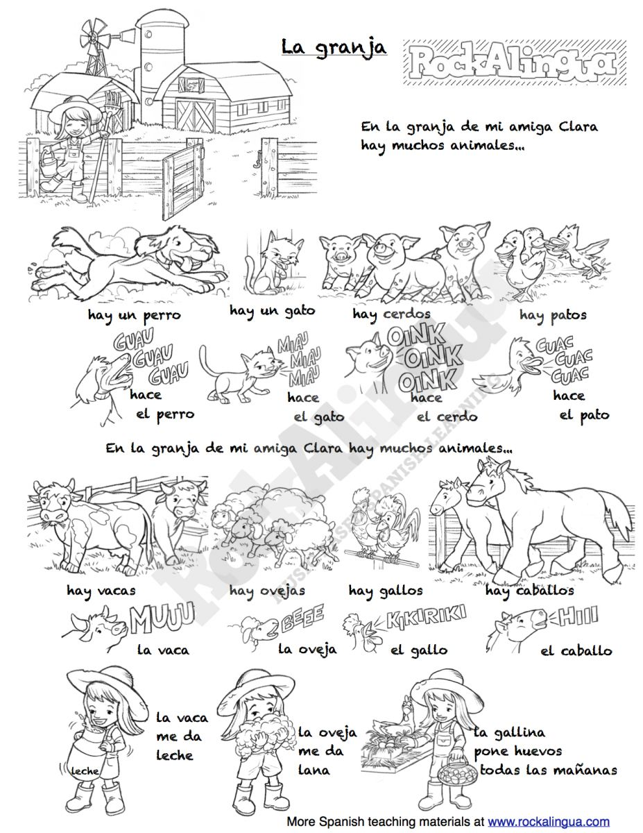 worksheet Farm Animal Worksheets farm animals song in spanish for kids rockalingua animals