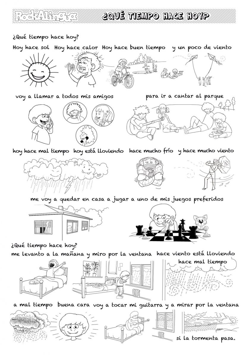 Weather Song to learn Spanish for kids High Level – Por and Para Worksheet