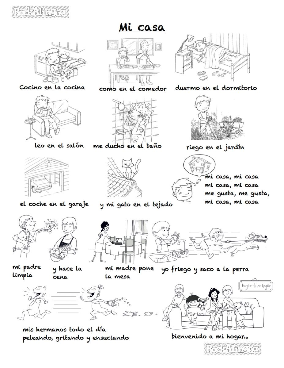 Rooms Worksheet: A Song To Describe Your Home In Spanish (difficult Version