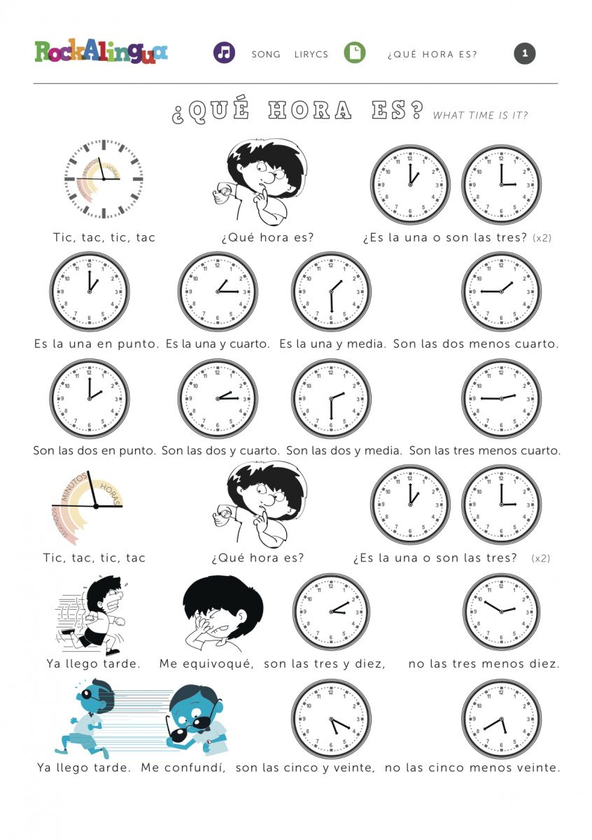 Worksheets La Hora Worksheet what time is it rockalingua use this catchy song to teach how say the in spanish your students