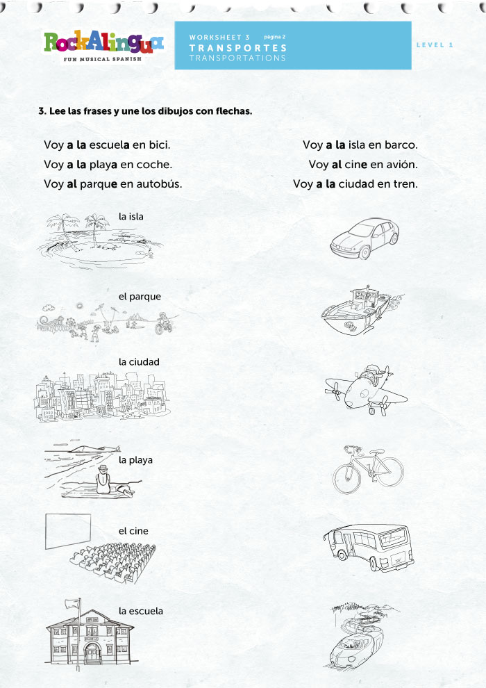 Means of transportation | Worksheet | Rockalingua