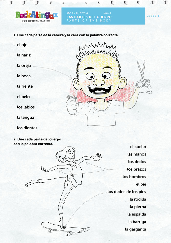 Worksheet Body Parts In Spanish Worksheet spanish worksheet to teach parts of the body worksheets