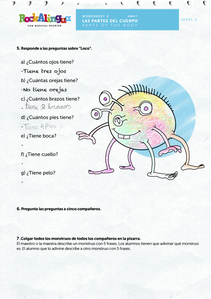 Worksheets Body Parts In Spanish Worksheet spanish worksheet to teach parts of the body worksheets
