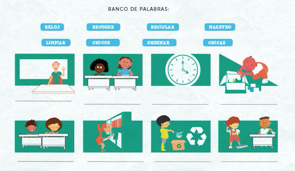 Kids practice vocabulary for classroom routines in Spanish on this worksheet.