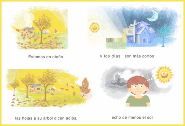 Songs like El otoño are excellent fall activities in Spanish for children learning language.