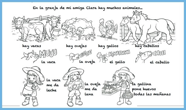 La granja and other Spanish animal songs give students an opportunity to learn vocabulary related to food production.