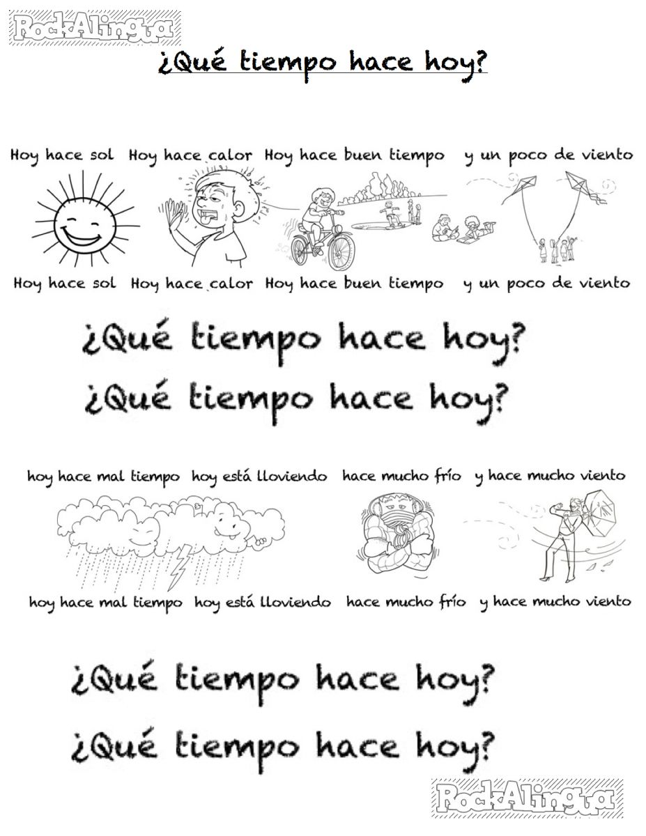 Workbooks weather expressions in spanish worksheets : Spanish Weather Song for Kids. Easy Level | Rockalingua