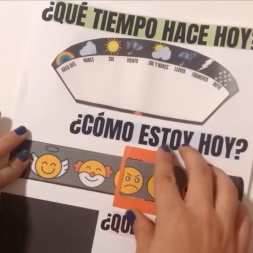 Spanish craft for kids to learn Spanish vocabulary related to weather, date and feelings