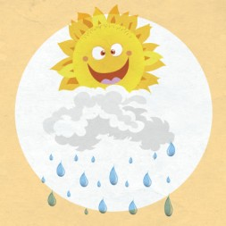 Spanish picture dictionary and flashcards for kids about weather in Spanish