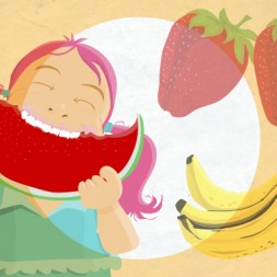 Spanish picture dictionary and flashcards about fruits