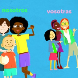 Spanish video to teach verb conjugation and subject pronouns to kids and children