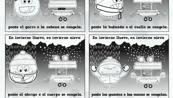 Worksheet for kids to teach and learn vocabulary related to winter, clothes and parts of the body in Spanish